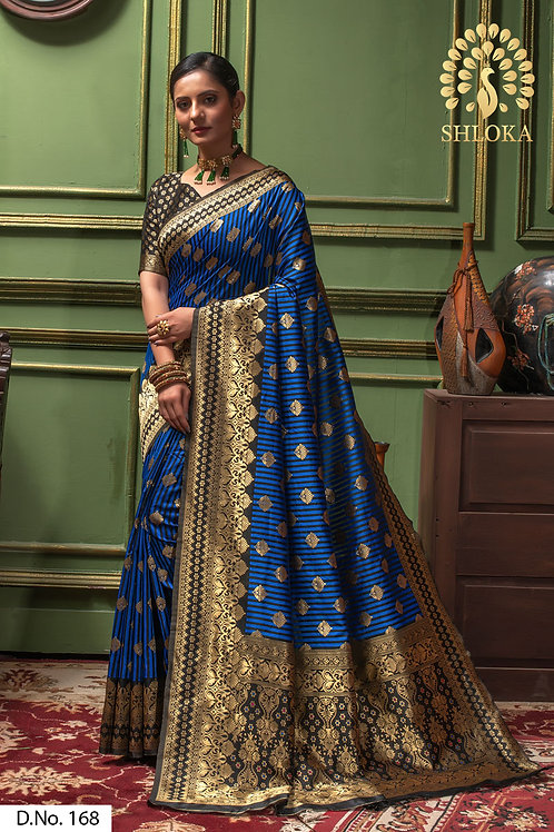 Perfect Blue & Black Color Silk Saree