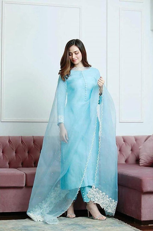 Light Blue Color Dazzling Salwar Suit