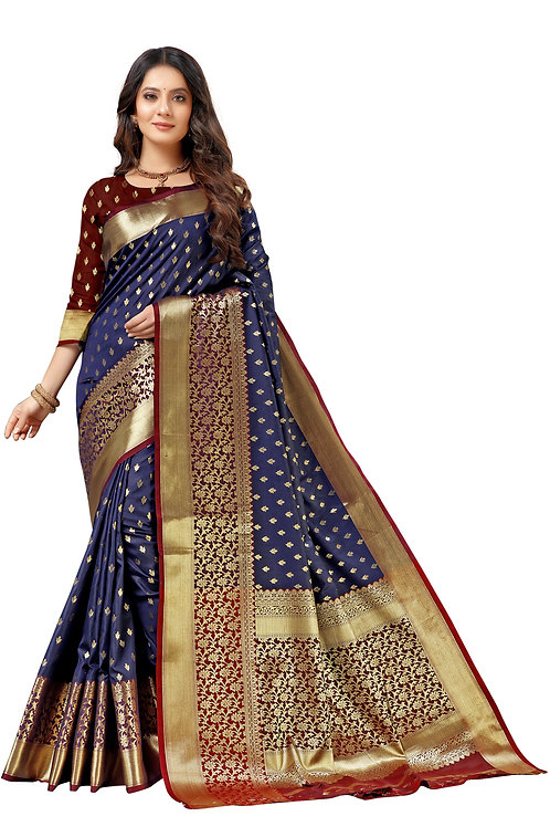 Beautiful Blue color Lichi Silk saree