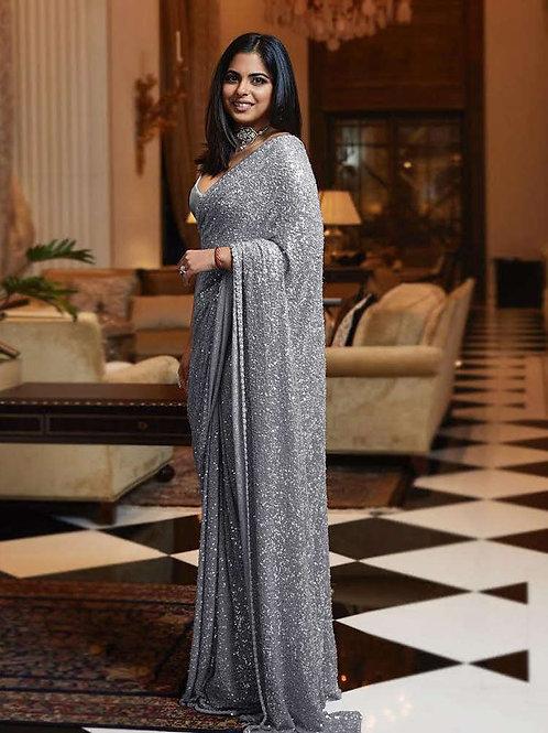 Gray Color Sequins Work Party Wear Designer Saree