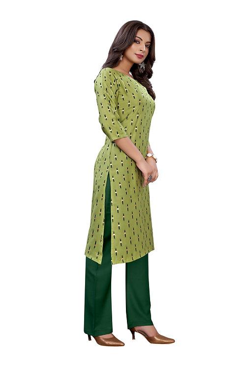 Green Slub Cotton Casual Wear Foil Print Kurti With Plazzo.
