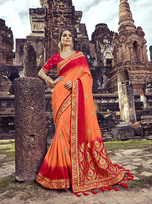 Fabulous Orange Color Satin Silk Saree
