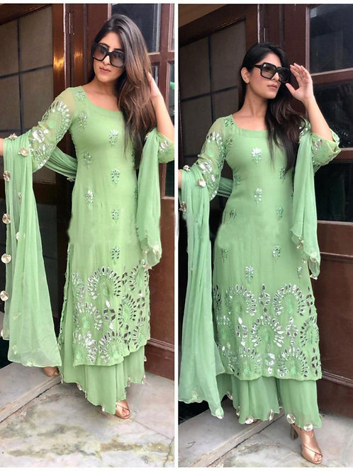 Beautiful Pastel Green Salwar Suit Online In High Quality
