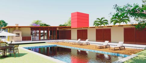 Quartos e piscina nos fundos da casa de campo em Avaré