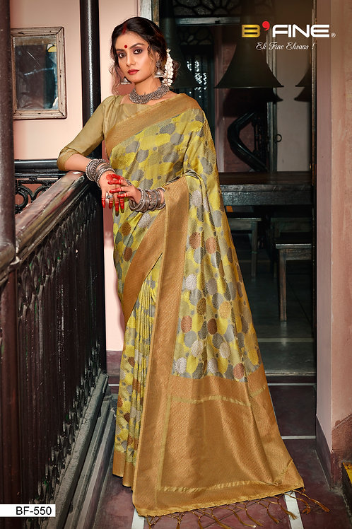 Green Color Woven Banarasi Silk Traditional Saree With Blouse