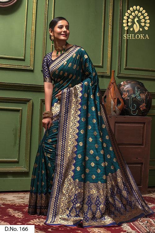Perfect Navy Blue And Dark Green Color Silk Saree