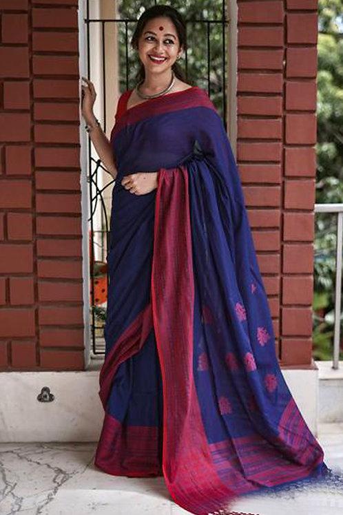 Blue Chanderi Cotton Saree with Banglori Blouse.