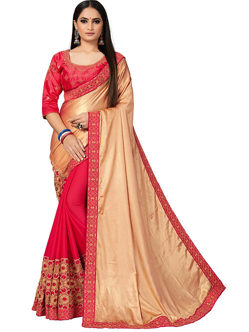 Beige Satin And Georeette Saree With Matching Blouse.