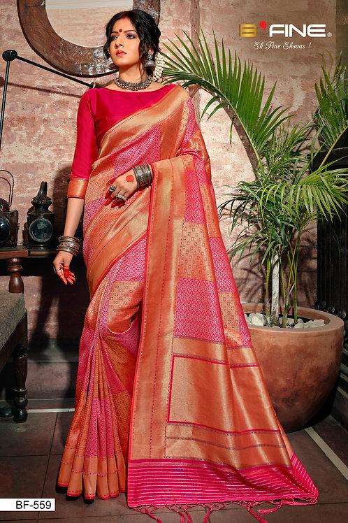 Pink Color Woven Banarasi Silk Traditional Saree With Blouse