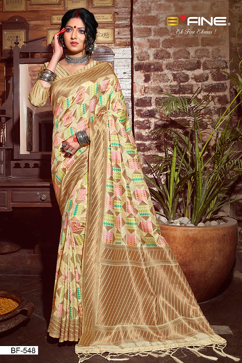 Beige Color Woven Banarasi Silk Traditional Saree With Blouse
