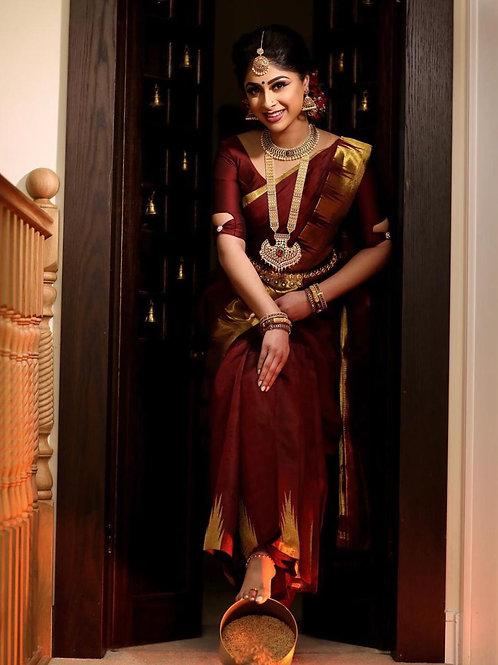 Beautiful Banarasi Silk Maroon Color Saree