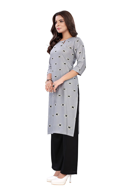 Grey Rayon Casual Wear Foil Print Kurti With Plazzo.