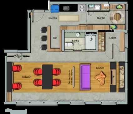 Planta da configuração 'Trabalhar' do apartamento da Maxhaus