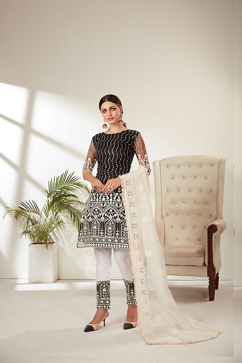 Black Color Butterfly Net Heavy Embroidered Designer Party Wear Salwar suite