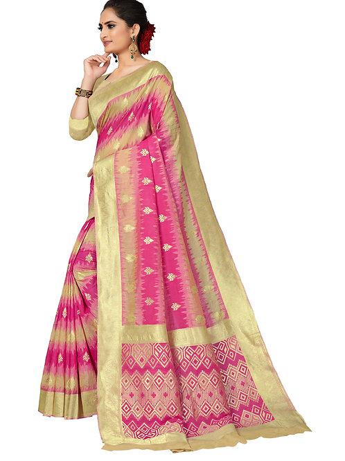 Pink Kora Silk Saree With Matching Blouse.