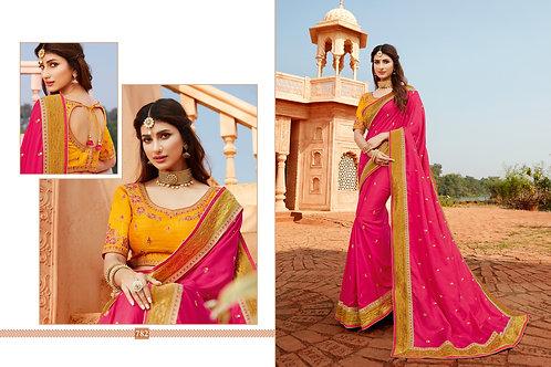 Heavy Silk Pink Color Saree