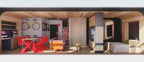 Sala na configuração 'Dormir' no projeto para apartamento da Maxhaus