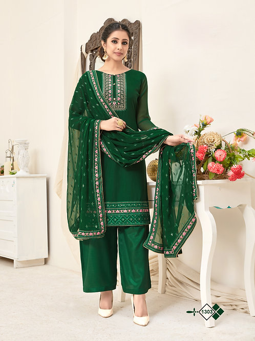 Green Soft Georgette Embroidered Straight Plazzo Style Suit.