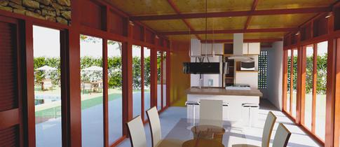 Cozinha e salas integradas da casa de campo em Avaré