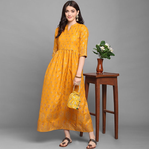 Awesome New Yellow Color Kurti Launching Designer For Monsoon