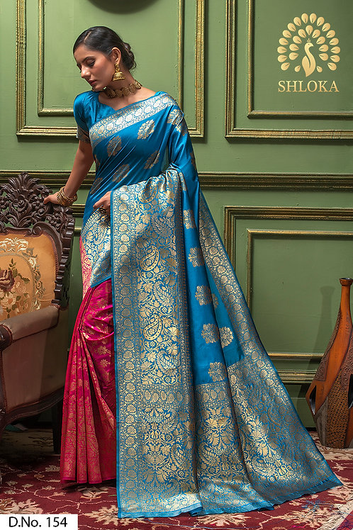 Firozi & Pink Banarasi Silk Jacquard Woven Saree With Blouse Piece