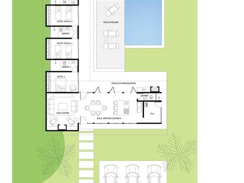 Planta do projeto da casa de campo em Avaré