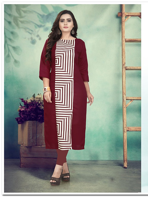 Maroon Color Cotton Digital Printed Designer Long Kurti