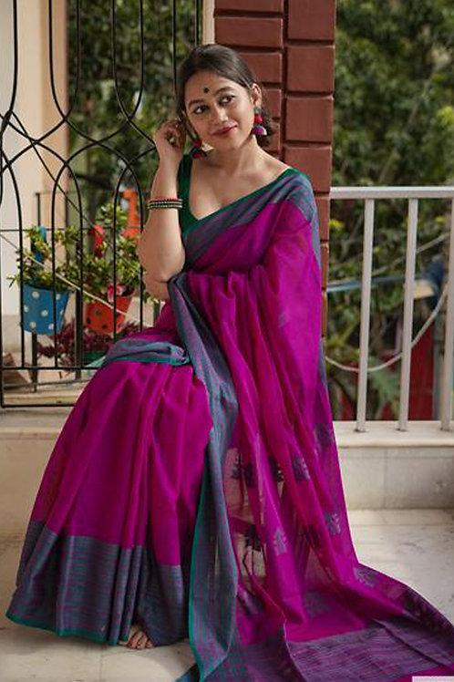 Pink Chanderi Cotton Saree with Banglori Blouse.
