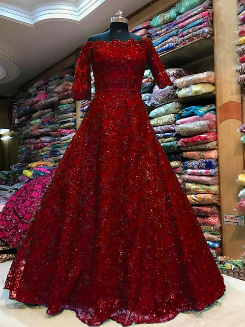 Attractive Wedding Wear Maroon Gown