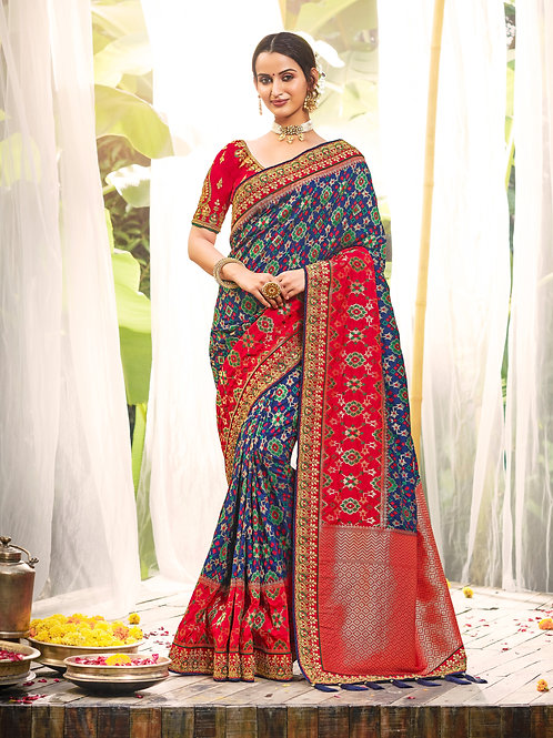 Blue Color Traditional Faux Silk Saree For Women