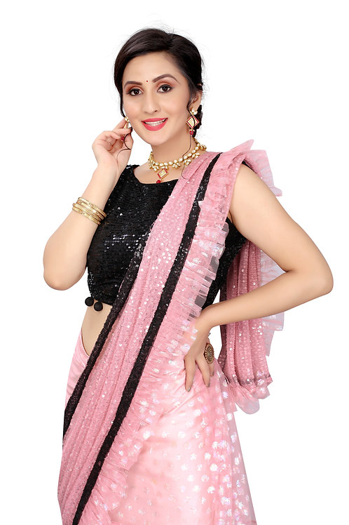 Beautiful Gujari Colour Net Saree