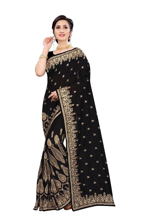 Beautiful Black Colour Silk  Saree
