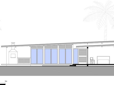 Corte esquemático do projeto da casa de campo em Avaré