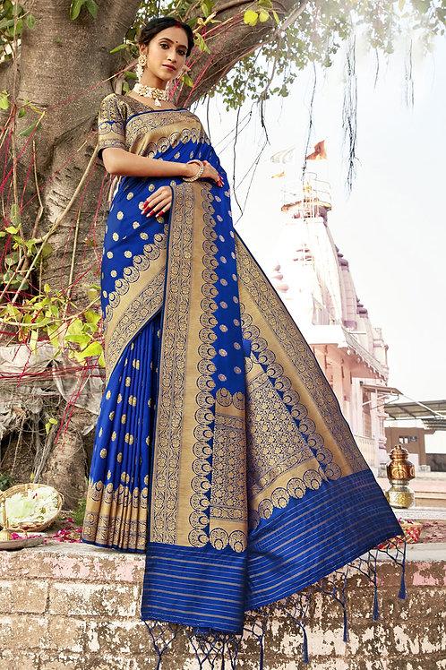 Excellent Blue Color Soft Silk Saree