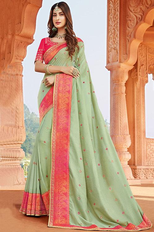 Party Wear Pista Color Heavy Georgette Silk
