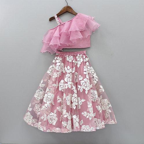 Attractive Baby Pink Ruffle Sleeves Top And Lehenga Set