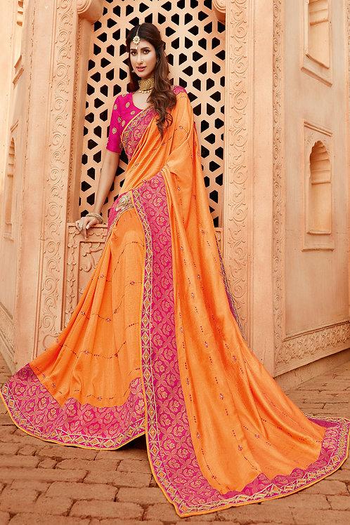 Party Wear Light Orange Color Heavy Georgette Silk