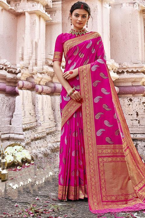 Excellent Pink Color Soft Silk Saree