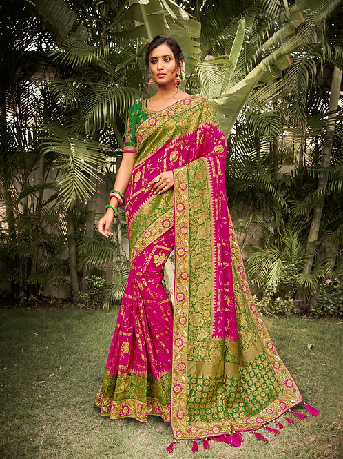 Pink Color Traditional Faux Silk Saree For Women