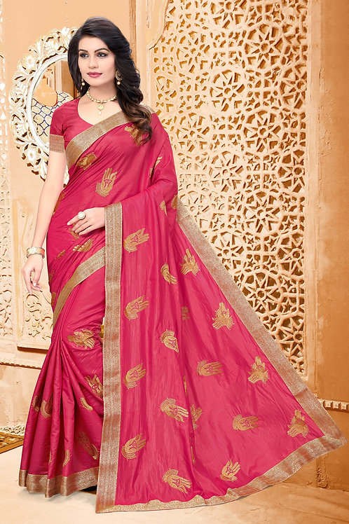 Awesome Pink Color Silk Embroidered Saree