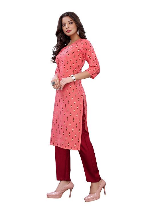Pink Slub Cotton Casual Wear Foil Print Kurti With Plazzo.