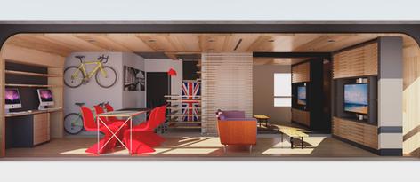 Sala na configuração 'Receber' no projeto para apartamento da Maxhaus