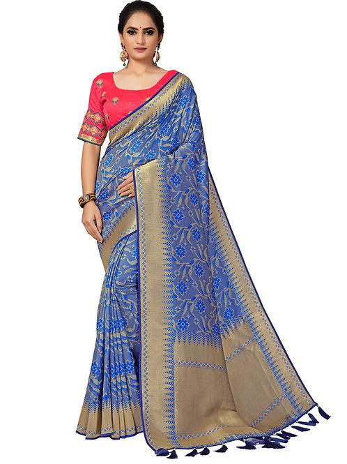 Blue Banarasi Silk Saree With Matching Blouse.