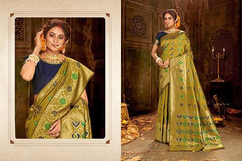Olive Green Color Party Wear Banarasi Cotton SILK Saree