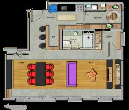 Planta da configuração 'Receber' do apartamento da Maxhaus