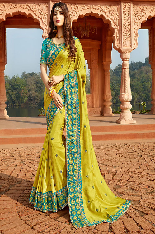 Party Wear Lime Color Heavy Georgette Silk