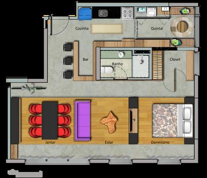 Planta da configuração 'Dormir' do apartamento da Maxhaus