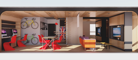 Sala na configuração 'Trabalhar' no projeto para apartamento da Maxhaus