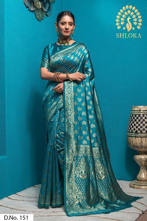 Firozi Banarasi Silk Jacquard Woven Saree With Blouse Piece