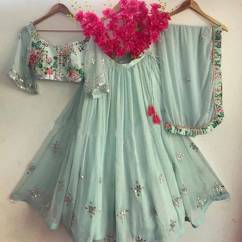 Green Pastel Flair Lehenga Choli